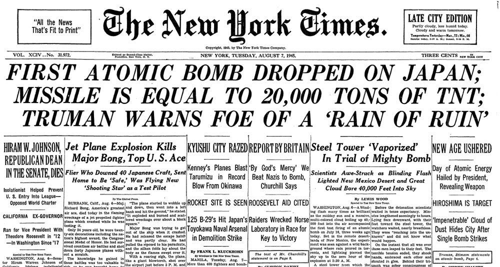 1945-08-07-New-York-Times-headlines