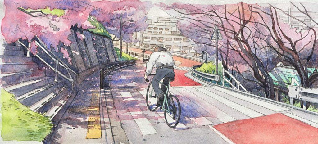 Mateusz Urbanowicz Bicycle boy aquarelle ghibli_1