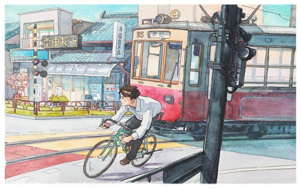 Mateusz Urbanowicz Bicycle boy aquarelle ghibli_5