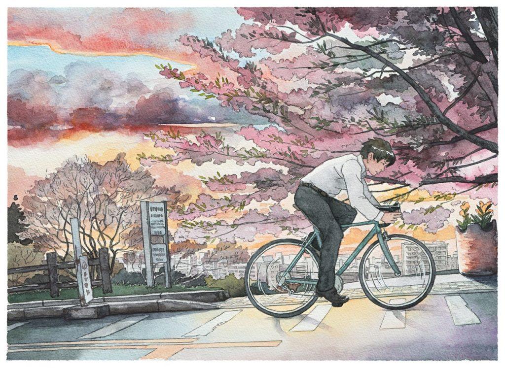 Mateusz Urbanowicz Bicycle boy aquarelle ghibli_9