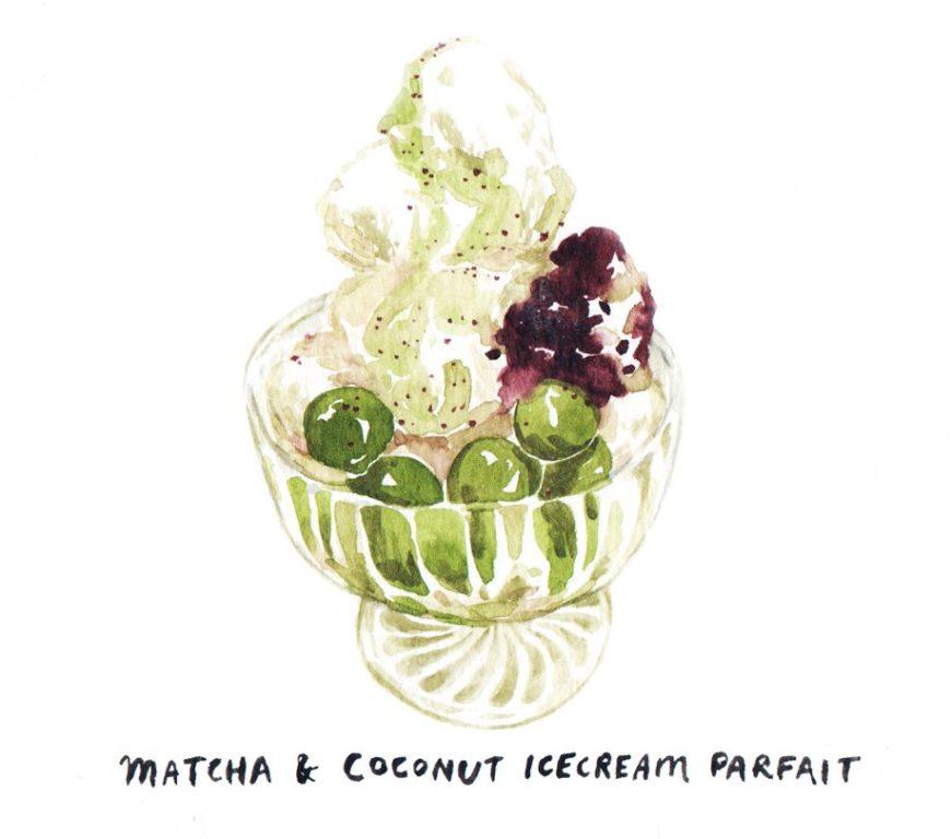 matcha+coconut+icecream+parfait