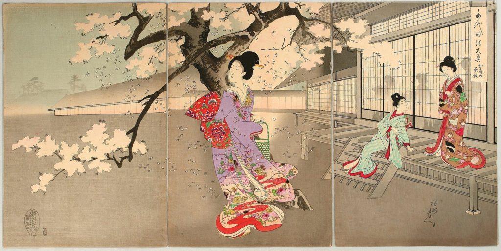 estampe japonaise cerisiers en fleurs_21