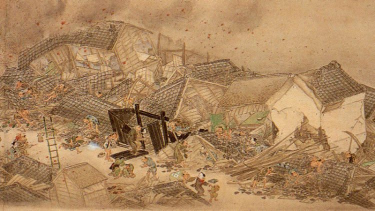estampe japonaise tremblement de terre_1855_Edo