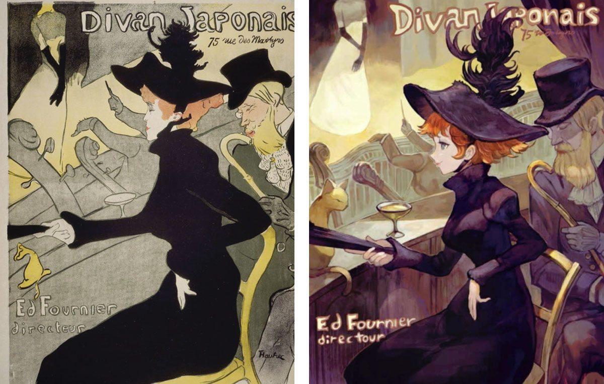 Des chefs d 39 oeuvre de la peinture adapt s fa on manga for Divan ovalia 05 version 2