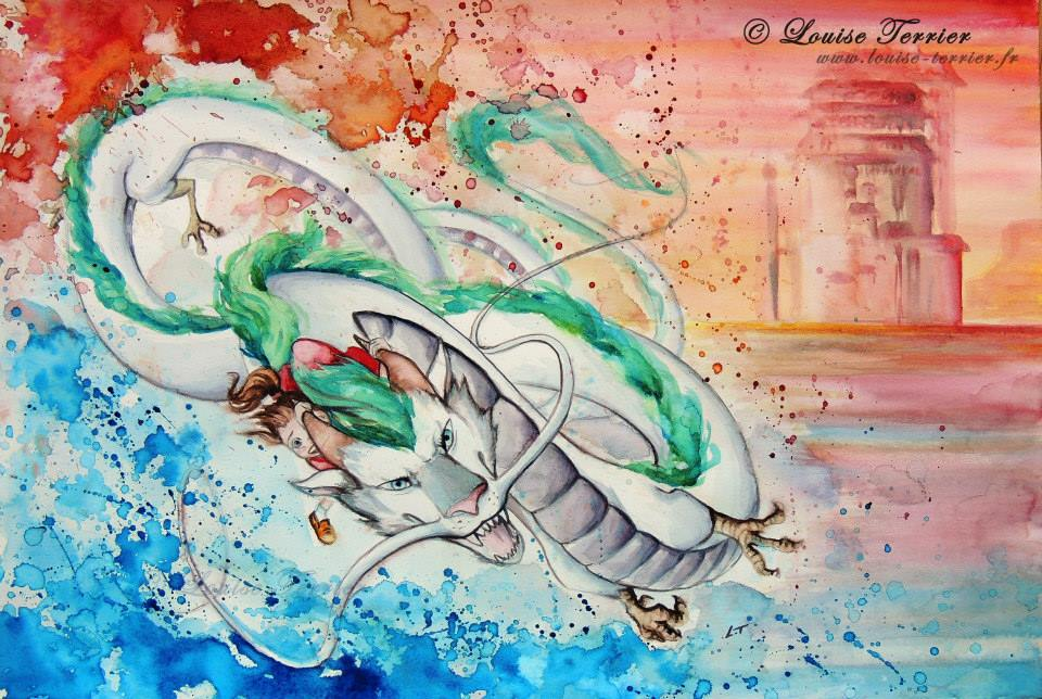 Louise Terrier acuarelas Ghibli_2